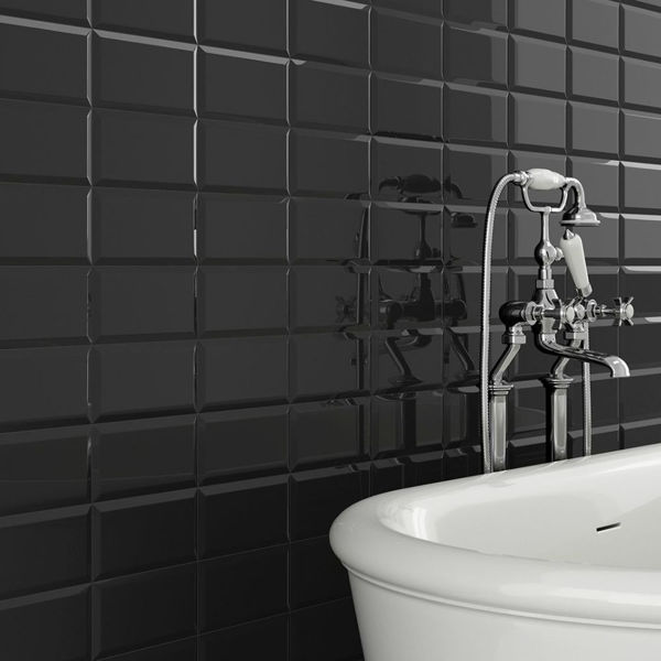 Picture of Metro Black Polished Tile 10x20 cm