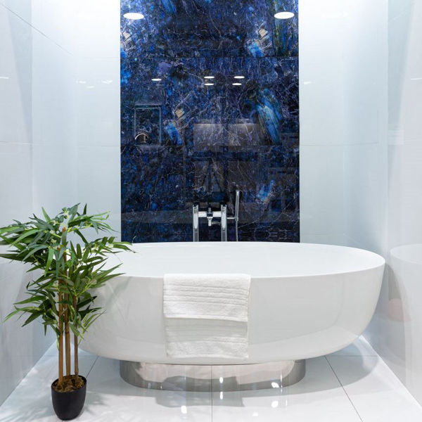 Picture of Electric Blue Decor Glass Porcelain Tile 60x120 cm
