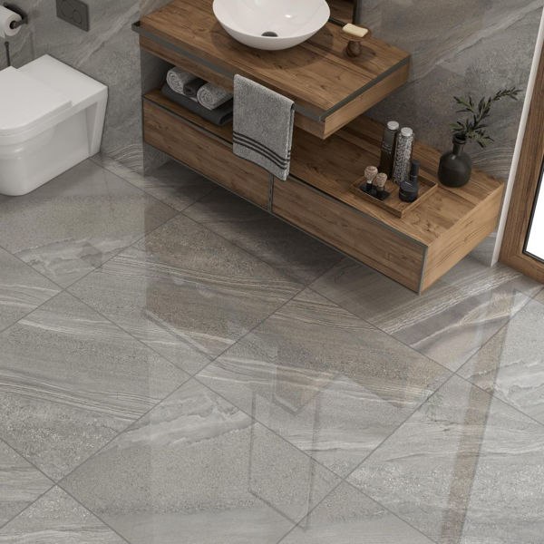 Picture of Crossover Grey Sugar Polished Tile 60x60 cm