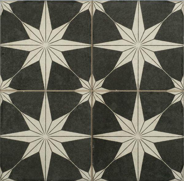 Picture of Orient Black Patterned Floor Tiles 45x45 cm