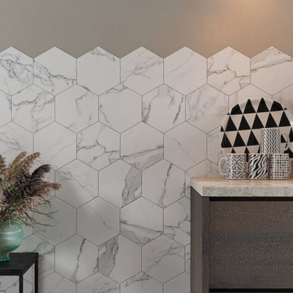 Picture of Bright Marble Effect Hexagon Tiles 21.5x25 cm