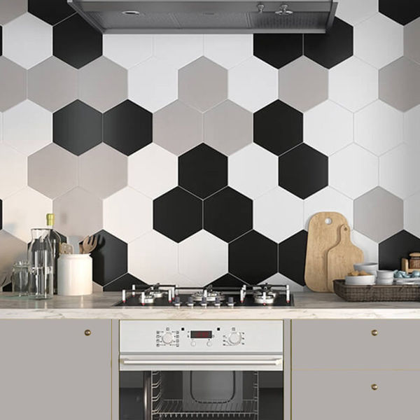 Picture of Solid White Hexagon Tiles 21.5x25 cm