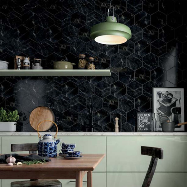 Picture of Black Marble Effect Hexagon Tiles 21.5x25 cm